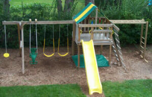 Jungle Fort Swingset with Monkey Bars