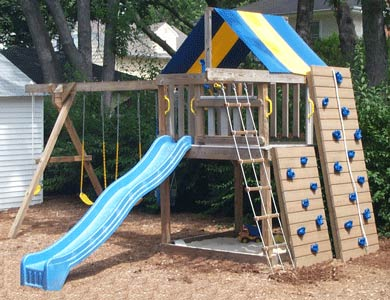 Jungle Fort Swingsets w/ Rock Wall