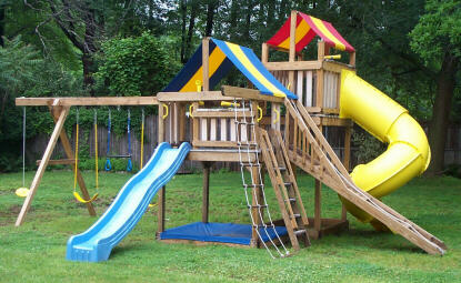 Swing Set With Jungle Fort Tower Backyard Playground